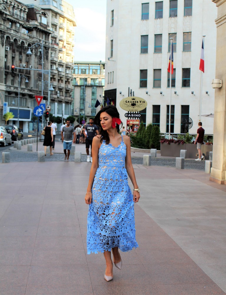 mihaela gurau romantic look baby blue lace dress red orchid earring escape watch glassesusa eyeglasses