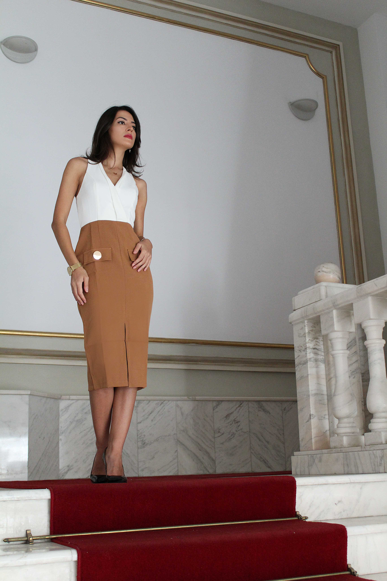 outfit post office outfit business meeting ootd fashion style amiclubwear dress Mihaela Gurau fashion blogger
